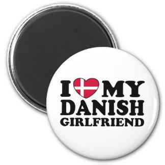 Amo a mi novia danesa imán redondo 5 cm