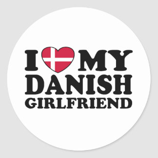Amo a mi novia danesa pegatina redonda
