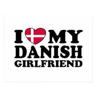 Amo a mi novia danesa tarjeta postal