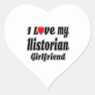 Amo a mi novia del historiador pegatina en forma de corazón