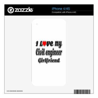 Amo a mi novia del ingeniero civil iPhone 4S skin