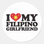 Amo a mi novia filipina pegatina redonda