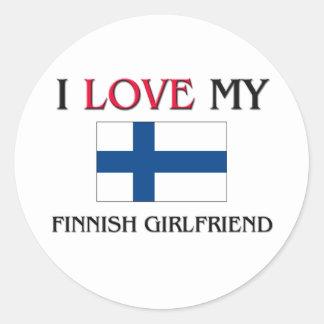 Amo a mi novia finlandesa pegatinas redondas