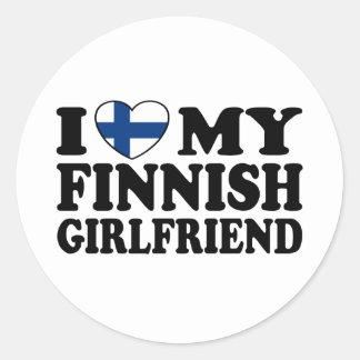 Amo a mi novia finlandesa pegatina redonda
