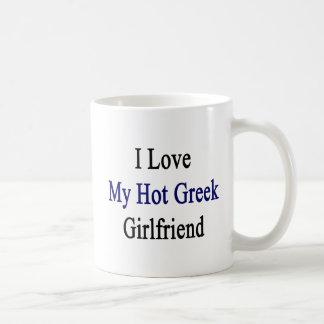 Amo a mi novia griega caliente taza de café
