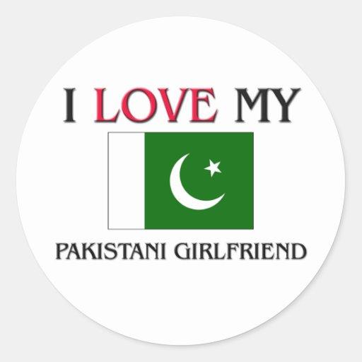 Amo a mi novia paquistaní pegatina redonda
