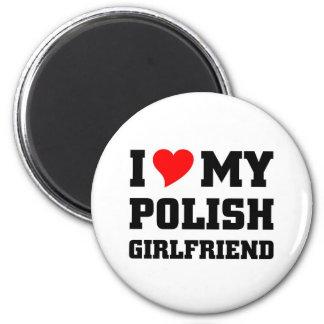 Amo a mi novia polaca imán redondo 5 cm