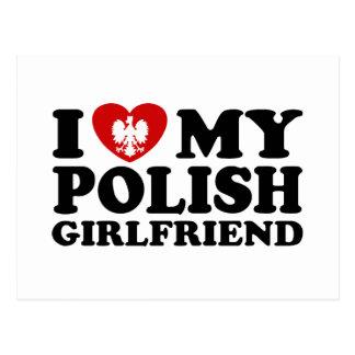 Amo a mi novia polaca tarjeta postal