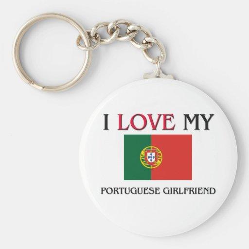 Amo a mi novia portuguesa llavero redondo tipo pin
