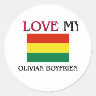 Amo a mi novio boliviano pegatina redonda