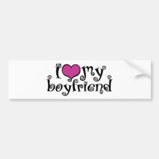 Amo a mi novio pegatina de parachoque