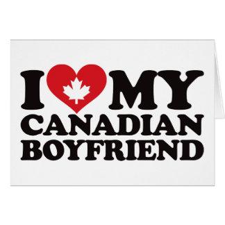 Amo a mi novio canadiense tarjeta de felicitación
