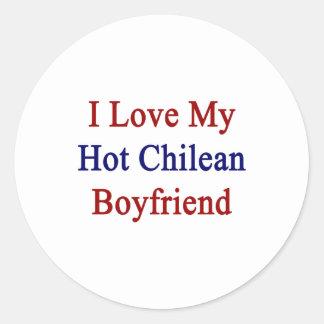 Amo a mi novio chileno caliente pegatina redonda
