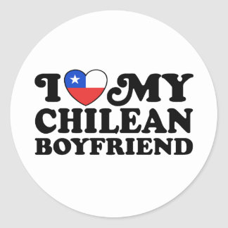 Amo a mi novio chileno pegatina redonda
