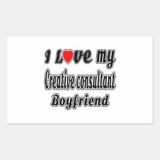 Amo a mi novio creativo del consultor pegatina rectangular