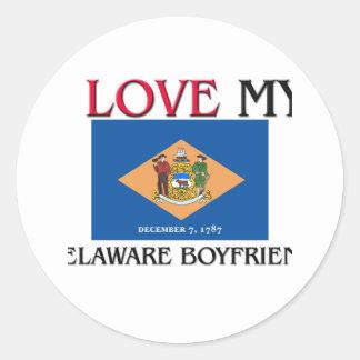 Amo a mi novio de Delaware Etiquetas Redondas