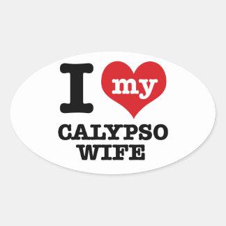 Amo a mi novio del calypso pegatina ovalada