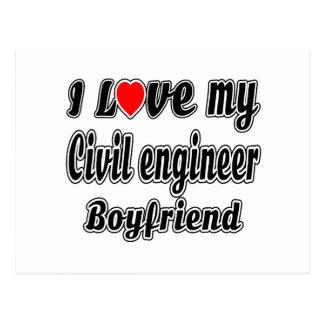 Amo a mi novio del ingeniero civil tarjeta postal