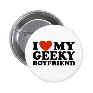 Amo a mi novio Geeky Pin Redondo De 2 Pulgadas
