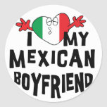 Amo a mi novio mexicano etiqueta redonda