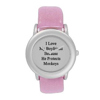 Amo a mi novio porque él protege monos relojes de pulsera