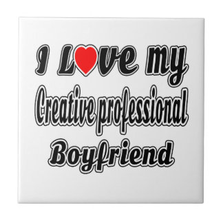 Amo a mi novio profesional creativo azulejo cuadrado pequeño