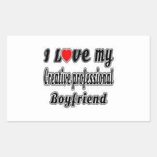 Amo a mi novio profesional creativo pegatina rectangular