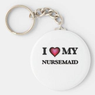 Amo a mi Nursemaid Llavero Redondo Tipo Pin