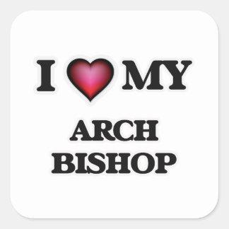 Amo a mi obispo del arco pegatina cuadrada