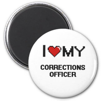 Amo a mi oficial de correcciones imán redondo 5 cm