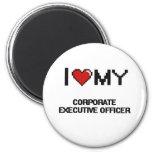 Amo a mi oficial de ejecutivo empresarial imán redondo 5 cm