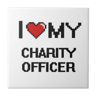 Amo a mi oficial de la caridad azulejo cuadrado pequeño