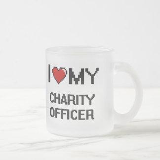Amo a mi oficial de la caridad taza cristal mate