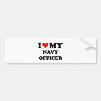 Amo a mi oficial de la marina de guerra etiqueta de parachoque