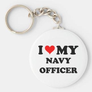 Amo a mi oficial de la marina de guerra llavero personalizado
