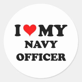 Amo a mi oficial de la marina de guerra pegatina