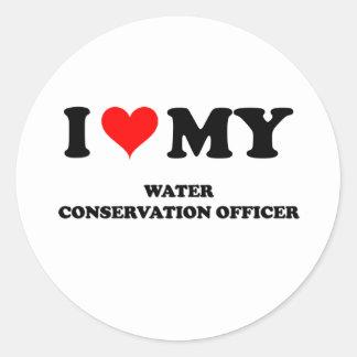 Amo a mi oficial de la protección de agua pegatina