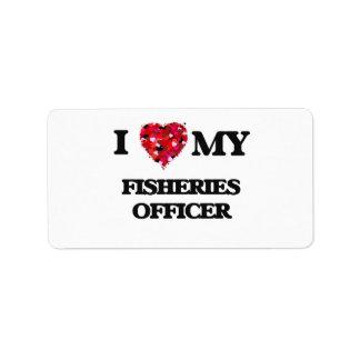 Amo a mi oficial de las industrias pesqueras etiqueta de dirección