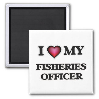 Amo a mi oficial de las industrias pesqueras imán cuadrado