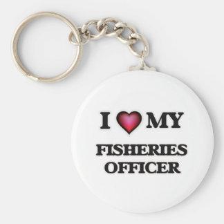 Amo a mi oficial de las industrias pesqueras llavero redondo tipo pin