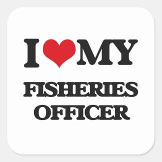 Amo a mi oficial de las industrias pesqueras etiqueta