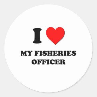 Amo a mi oficial de las industrias pesqueras pegatinas redondas