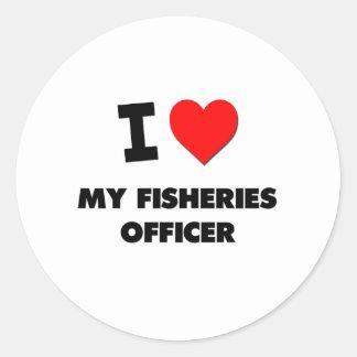 Amo a mi oficial de las industrias pesqueras etiquetas redondas