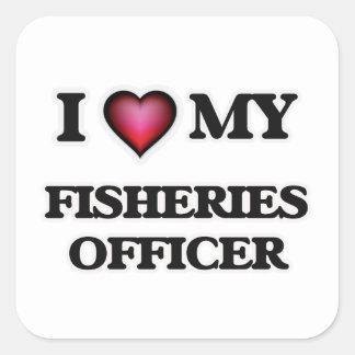 Amo a mi oficial de las industrias pesqueras pegatina cuadrada