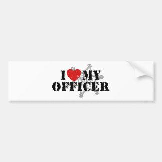 Amo a mi oficial de policía pegatina de parachoque
