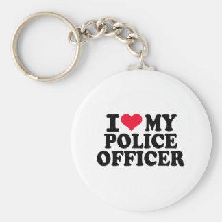 Amo a mi oficial de policía llaveros