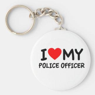 Amo a mi oficial de policía llavero redondo tipo pin