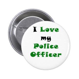 Amo a mi oficial de policía pin redondo 5 cm