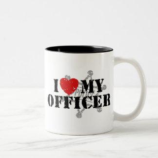 Amo a mi oficial de policía taza de café de dos colores