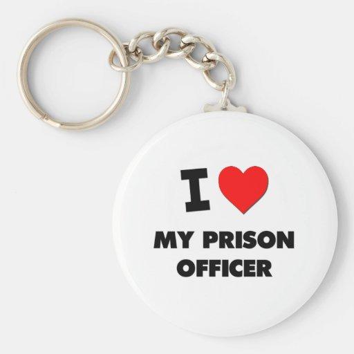 Amo a mi oficial de prisión llavero personalizado